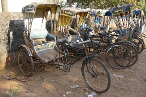 Rickshaws lined up waiting for business